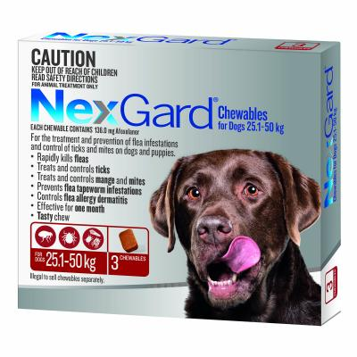 NexGard For Dogs Red Large 25.1-50kg 3 Pack