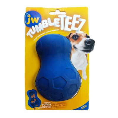 JW Tumble Teez Treat Dispensing Puzzle Tumbler Rubber Blue Large Toy For Dogs