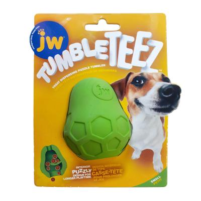 JW Tumble Teez Treat Dispensing Puzzle Tumbler Rubber Green Small Toy For Dogs