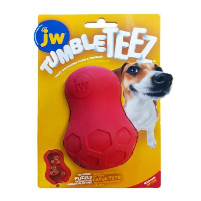 JW Tumble Teez Treat Dispensing Puzzle Tumbler Rubber Red Medium Toy For Dogs
