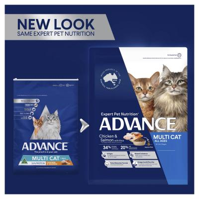 Advance Multi Cat Chicken And Salmon Adult 1-8yrs Dry Cat Food 3kg