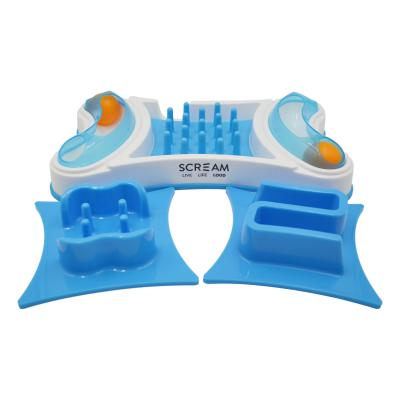 Scream 2 In 1 Interactive Loud Blue Slow Feeder Activity Puzzle Maze Bowl For Cats