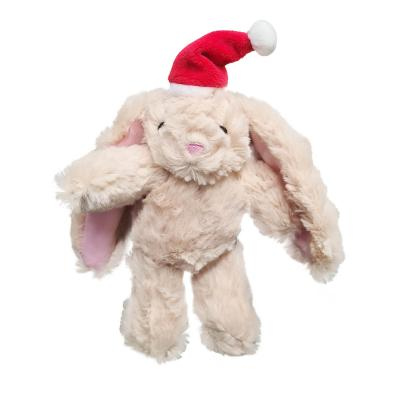 Kazoo Christmas Bunny With Santa Hat Plush Squeak Small Toy For Dogs