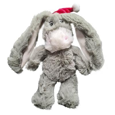 Kazoo Christmas Donkey With Santa Hat Plush Squeak Small Toy For Dogs