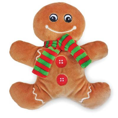 Kazoo Christmas Gingerbread Man Plush Squeak Toy For Dogs