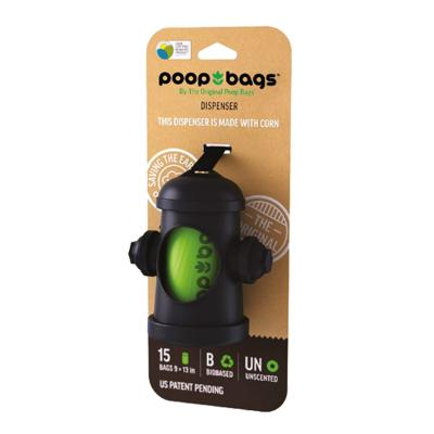 Poop Bags Fire Hydrant Bag Dispenser With 15 Original Eco Friendly Green Bags For Dogs