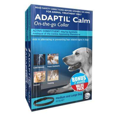 Adaptil Calm On-The-Go Collar Bonus 2 Pack For Medium And Large Dogs 70cm Fits Necks Up To 62.5cm