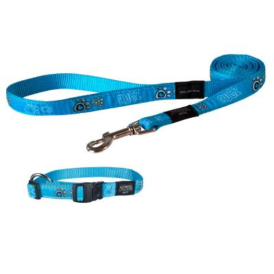 Rogz Fancy Dress Collar And Lead Set Turquoise Paws Large For Dogs