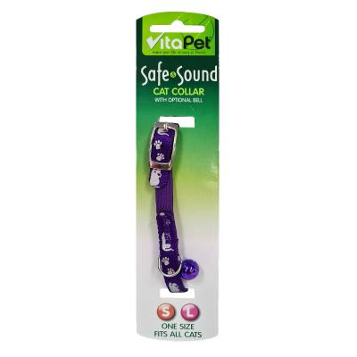 Vitapet Safe & Sound Purple Paw Print Cat Collar 19-23cm Neck x 10mm Width