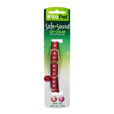Vitapet Safe & Sound Red Paw Print Cat Collar 23-28cm Neck x 13mm Width