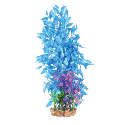 Kazoo Aquarium Metallic Shine Plastic Plant Large Leaf Assorted Colours XLarge For Fish Tank