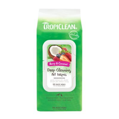 Tropiclean Deep Cleaning Deodorising Pet Wipes Berry And Coconut For Dogs And Cats 100 Pack