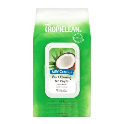 Tropiclean Ear Cleaning Deodorising Pet Wipes Mild Coconut For Dogs And Cats 50 Pack