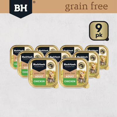 Black Hawk Grain Free Chicken Adult Canned Wet Dog Food 100gm X 9