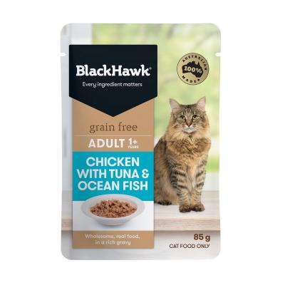 Black Hawk Grain Free Adult Chicken With Tuna And Ocean Fish In Rich Gravy Pouches Wet Cat Food 85gm x 12
