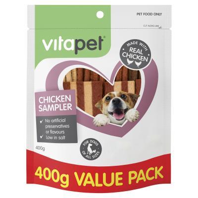 Vitapet Jerhigh Chicken Sampler Variety Pack Treats For Dogs 400gm