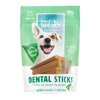 Tropiclean Fresh Breath Dental Sticks Vanilla Mint Regular For Dogs Over 11.5kg 8 Pack 227gm