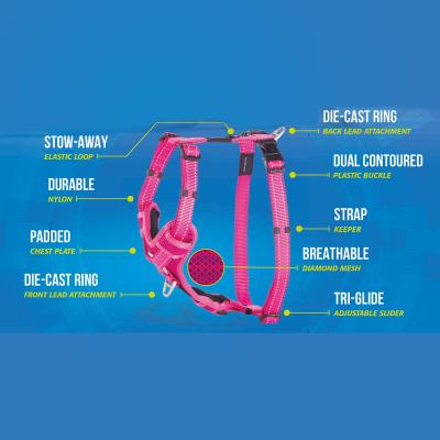 Rogz Control Reflective Padded Harness Red XLarge For Dogs 60-100cm Girth