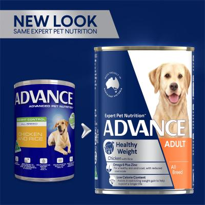 Advance Healthy Weight Control Chicken With Rice All Breed Adult Canned Wet Dog Food 700g x 12