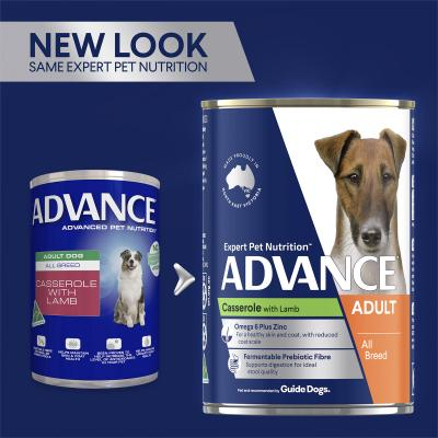 Advance Casserole With Lamb All Breed Adult Canned Wet Dog Food 400g x 12