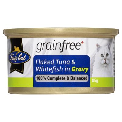 Fussy Cat Flaked Tuna And Whitefish In Gravy Adult Canned Wet Cat Food 85gm x 24