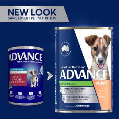 Advance Lamb And Rice Puppy Plus Growth Canned Wet Dog Food 410g x 12