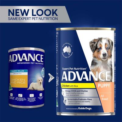 Advance Chicken With Rice Puppy Plus Growth Canned Wet Dog Food 410g x 12