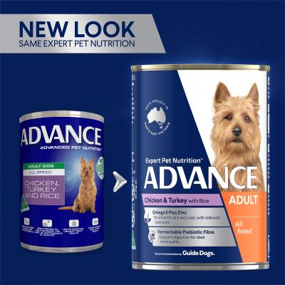 Advance Chicken Turkey With Rice All Breed Adult Canned Wet Dog Food 410g x 12