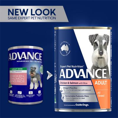 Advance Chicken Salmon With Rice All Breed Adult Canned Wet Dog Food 410g x 12