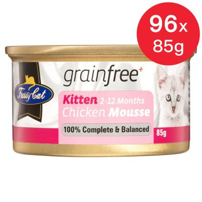 Fussy Cat Chicken Mousse Kitten Canned Wet Cat Food 85gm x 96