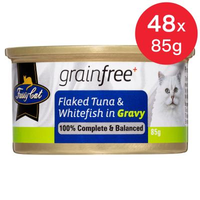Fussy Cat Flaked Tuna And Whitefish In Gravy Adult Canned Wet Cat Food 85gm x 48