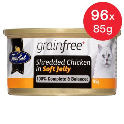 Fussy Cat Shredded Chicken In Soft Jelly Adult Canned Wet Cat Food 85gm x 96
