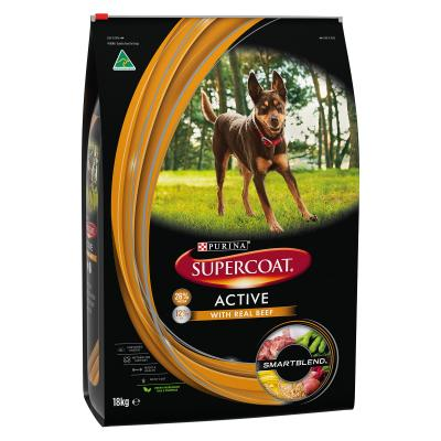 Supercoat Active Real Beef Adult Dry Dog Food 18kg