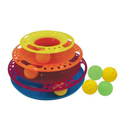 Scream Triple Layer 3 Ball Orb Tower Multicolour Chase Toy With 4 Extra Orb Balls For Cats
