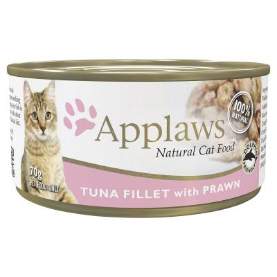 Applaws Tuna Fillet With Prawn Adult Canned Wet Cat Food 70g x 24