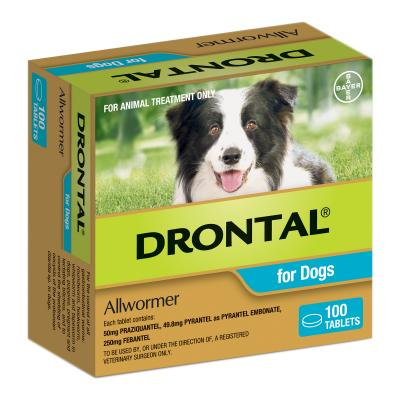 Drontal Allwormer For Dogs Medium 3-10kg x 100 Tablets