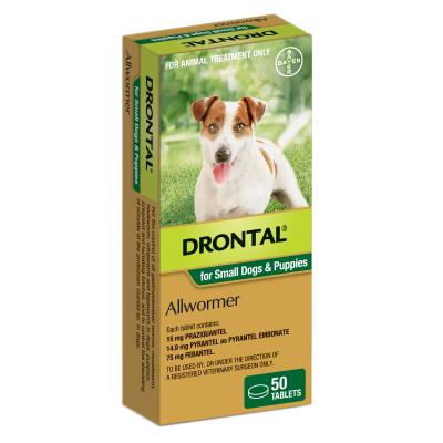 Drontal Allwormer For Dogs Small & Puppies Up To 3kg 50 Tablets