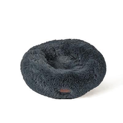 Kazoo Peacock Round Plush Bed Stormy Grey Medium For Dogs And Cats