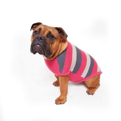 Kazoo Jumper Striped For Broad Chested Dog Coat Pink/Grey Intermediate 53cm