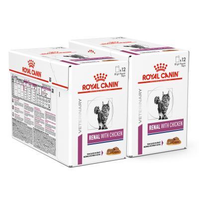 Royal Canin Veterinary Diet Feline Renal Chicken Pouch Wet Cat Food 85gm x 24