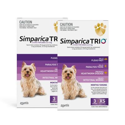 Simparica TRIO For Dogs 2.6 - 5kg Purple XSmall 6 Chews