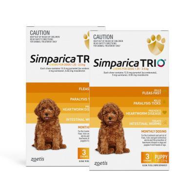 Simparica TRIO For Dogs 1.3 - 2.5kg Yellow Puppy 6 Chews