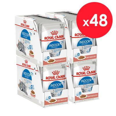 Royal Canin Indoor Sterilised Mature/Senior 7+ In Gravy Pouches Wet Cat Food 85g x 48