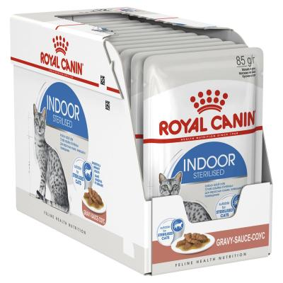 Royal Canin Indoor Sterilised Adult In Gravy Pouches Wet Cat Food 85g x 48