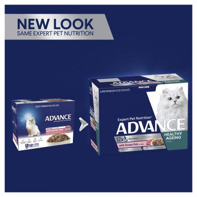 Advance Ocean Fish In Jelly Mature 8+ Years Pouches Wet Cat Food 85gm x 12