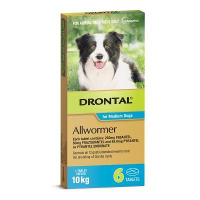 Drontal Allwormer For Dogs Medium 3-10kg 6 Tablets