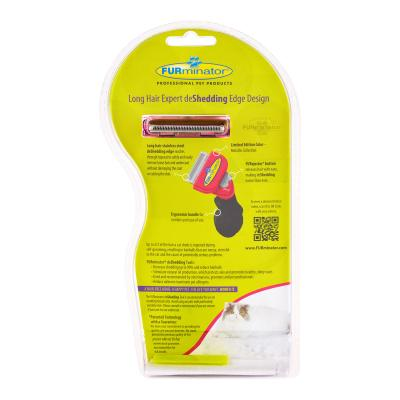 FURminator DeShedding Brush Comb Tool Metallic Pink For Long Hair Small Cats