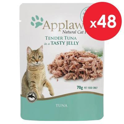 Applaws Tuna Wholemeat In Jelly Adult Pouches Wet Cat Food 70g x 48