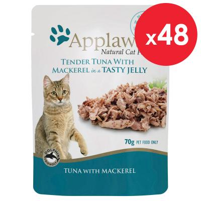 Applaws Tuna With Mackerel In Jelly Adult Pouches Wet Cat Food 70g x 48