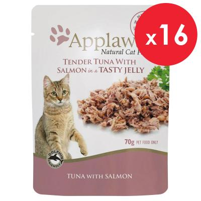 Applaws Tuna With Salmon In Jelly Adult Pouches Wet Cat Food 70g x 16